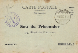 1917-  CARTE POSTALE Réponse  Au Sou Du Prisonnier / Bordeaux Du Camp De ELLWANGEN - Poststempel (Briefe)