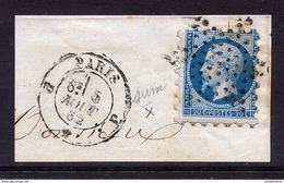 Piquage De SUSSE Utilisé Par Le Bureau De Poste J  De Paris, Sur Fragment. Cachet En Date Du 5 Août 1862  - Napoléon - 1862 Napoléon III.