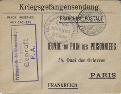 1916- Enveloppe De Retour F M à L'Oeuvre Du Pain Des Prisonniers Du Camp De ALTENGRABOW - Storia Postale