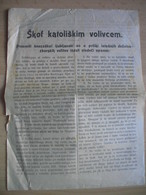 Bishop Anton Bonaventura.Skof Katoliskem Volivcem(opomin Za Dezelno Zborske Volitve.Warning(suggestion) For Election - Faire-part