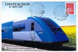 CPM - 28 CHATEAUDUN - Mise En Service Du Nouvel Automoteur TER - 27 Sept 1997 - Trains