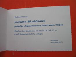 Vabilo Na Proslavo 20.obletnice Podjetja Adriacommerce Izvoz-uvoz,Koper. - Announcements