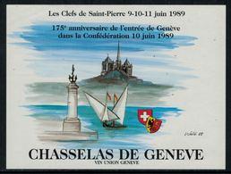Rare // Etiquette De Vin // Bateaux à Voile //  Chasselas De Genève, 175 Ans De L'entrée De Genève Dans La Confédération - Bateaux à Voile & Voiliers