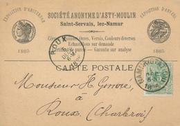 661/27 - Carte Illustrée TP 45 NAMUR Station 1886 Vers ROUX - Entete S.A. D' Asty-Moulin à SAINT SERVAIS - 1869-1888 Lion Couché