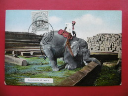 BIRMANIE RANGOON ELEPHANTS AT WORK CACHET RANGOON STAMP BRITISH INDIA POST - Myanmar (Burma)