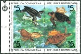 DOMINICAN REPUBLIC 1996 MARINE TURTLES BLOCK OF 4** (MNH) - Dominicaine (République)