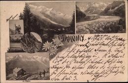Cp Chamonix Mont Blanc Haute Savoie, Monument Saussure, La Flegere, Le Mer De Glace - Autres Communes
