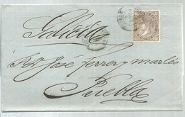 CARTA  1869  DE AGUILAS  MURCIA  A PUEBLA DE CARAMIÑAL  LA CORUÑA - Briefe U. Dokumente