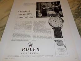 PUBLICITE AFFICHE POURQUOI UNE AUTOMATIQUE MONTRE ROLEX 1951 - Jewels & Clocks