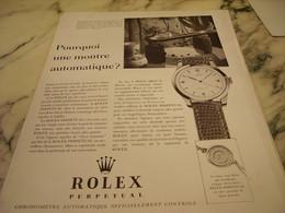 PUBLICITE AFFICHE PRECISION ROLEX ELEGANCE DE PARIS 1951 - Publicités