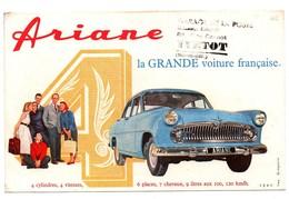Buvard Automobile Ariane La Grande Voiture Française Garage De La Poste Yvetot - Automobile