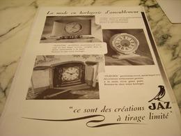 ANCIENNE PUBLICITE TIRAGE LIMITE PENDULE  JAZ 1946 - Affiches