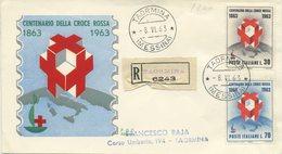 ITALIA - FDC SILIGATO 1963  - CROCE ROSSA - CRI - VIAGGIATA IN RACCOMANDATA DA TAORMINA - F.D.C.