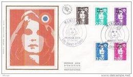 L4H186 SAINT PIERRE MIQUELON 1990 FDC Marianne Bicentenaire 5 Val.  Saint-Pierre 17 04 1990 /envel.  Illus. - FDC