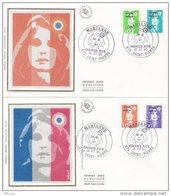 L4H188 SAINT PIERRE MIQUELON 1990 FDC Marianne Bicentenaire 4 Val.  Saint-Pierre 16 07 1990 / 2 Envel.  Illus. - FDC