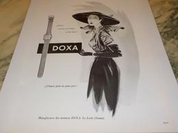 ANCIENNE PUBLICITE S ACCOCIE A LA MODE ET LUI SURVIT MONTRE DOXA 1951 - Bijoux & Horlogerie