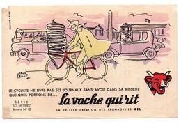 Buvard La Vache Qui Rit Hervé Baille Le Cycliste Ne Livre Pas Ses Journaux  ... Vélo Voitures Automobiles - Produits Laitiers