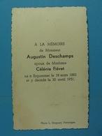 Augustin Deschamps épx Fiévet Erquennes 1883 1951 - Images Religieuses