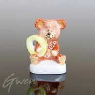 Feve Ours Ourson Alphabet Lettre O Miniature Porcelaine Figurine - Animaux