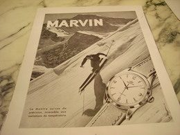 ANCIENNE PUBLICITE INSENSIBLE AU TEMPERATURE MONTRE MARVIN 1951 - Jewels & Clocks