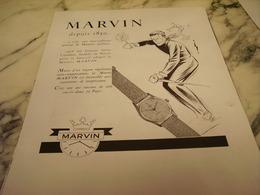 ANCIENNE PUBLICITE DEPUIS 1850 MONTRE MARVIN 1951 - Bijoux & Horlogerie