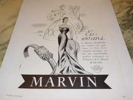 ANCIENNE PUBLICITE EN 100 ANS MONTRE MARVIN 1951 - Jewels & Clocks