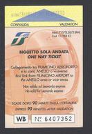 2017 -One Way Ticket - Fiumicino Airport - Roma -Italy - Used  - - Treni