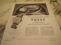 ANCIENNE PUBLICITE OBSERVATOIRE DE GENEVE ET   MONTRE OMEGA   1951 - Bijoux & Horlogerie