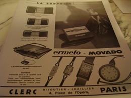ANCIENNE PUBLICITE SURPRISE MONTRE ERMETO  MOVADO 1930 - Bijoux & Horlogerie
