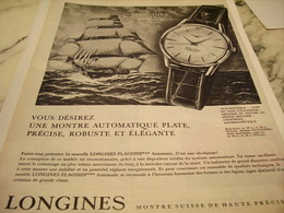 ANCIENNE PUBLICITE FLAGSHIP  MONTRE LONGINES 1962 - Jewels & Clocks
