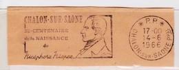 Port Payé PP Chalon-Sur-Saône Nicéphore Niepce (Photographie) Sur Fragment _F130 - Marcophilie (Lettres)