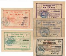 1914-1918 // Bon Régional Unifié // Commune De VAUX-ANDIGNY // Bon De 25/50Centimes/1/2 Et 10 Francs - Bons & Nécessité