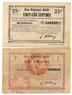 1914-1918 // Bon Régional Unifié // Commune D'HOMBLIERES // Bon De 25 Centimes Et 1 Franc - Bons & Nécessité