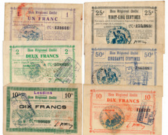1914-1918 // Bon Régional Unifié // Commune De LESDINS // Bon De 25 & 50 Centimes Et 1/2 Et 2x10 Francs - Bons & Nécessité