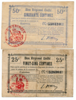 1914-1918 // Bon Régional Unifié // Commune D'ESTREES // Bon De 25 & 50 Centimes - Bons & Nécessité