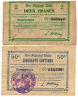 1914-1918 // Bon Régional Unifié // Commune D'HOMBLIERES // Bon De 50 Centimes & 2 Francs - Bons & Nécessité