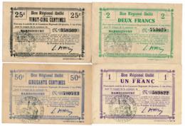 1914-1918 // Bon Régional Unifié // Commune D'HAMEGICOURT // Bon De 25 & 50 Centimes Et 1 & 2 Francs - Bons & Nécessité