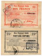 1914-1918 // Bon Régional Unifié // Commune De BEAUREVOIR // Bon De 25 Centimes & 10 Francs - Bons & Nécessité