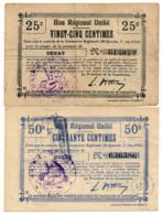 1914-1918 // Bon Régional Unifié // Commune De BENAY // Bon De 25 & 50 Centimes - Bons & Nécessité