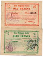 1914-1918 // Bon Régional Unifié // Commune De VERMAND // Bon De 2 & 10 Francs - Bons & Nécessité