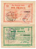 1914-1918 // Bon Régional Unifié // Commune De VILLERET // Bon De 2 & 10 Francs - Bons & Nécessité