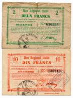 1914-1918 // Bon Régional Unifié // Commune De BEAUREVOIR // Bon De 2 & 10 Francs - Bons & Nécessité