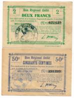 1914-1918 // Bon Régional Unifié // Commune De BELLENGLISE // Bon De 50 Centimes & 2 Francs - Bons & Nécessité