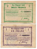 1914-1918 // Bon Régional Unifié // Commune De FRESNOY-LE-GRAND // Bon De 1 & 2 Francs - Bons & Nécessité