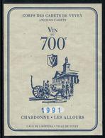 Rare // Etiquette De Vin // 700ème De La Confédération //  Chardonne, Corps Des Cadets De Vevey - 700ème De La Confédération Helvétique