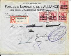 Lettre Deutsches Reich  - MARCHIENNE - AU - PONT    SA Des Forges & Laminoirs De L'Alliance  ( Recommandé 1916 ) - Guerre 14-18