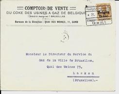 Lettre Deutsches Reich  - GAND  Comptoir De Vente Du Coke Des Usines à Gaz De Belgique - Guerre 14-18