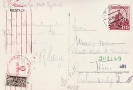 Slovaquie Carte Censurée Pour L'Autriche 1942 - Slovaquie