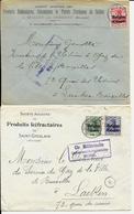 2 X Lettre Deutsches Reich  - Produits Réfractaires De SEILLES Lez ANDENNE +  SAINT GHISLAIN - Guerre 14-18
