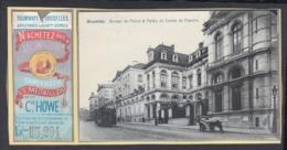 """BELGIQUE CP TRAMWAYS BRUXELLOIS """"BUREAU DE POLICE """" TRAM 8 + TICKET DE TRAM (DD) DC-1403 - Belgique"""